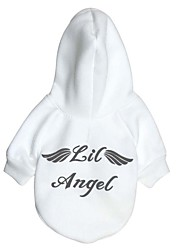 cheap -Dog Hoodie Dog Clothes Warm Casual/Daily Solid Angel White Red Costume For Pets