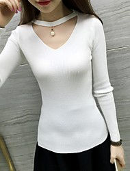 Women's Going out Casual/Daily Simple Short Pullover,Solid Halter Long Sleeves Polyester Fall Winter Medium Stretchy
