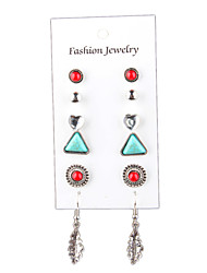 cheap -Retro National Wind Leaves Love Turquoise 6 Sets Of Combination Earrings