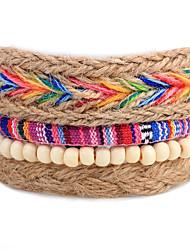 Men's Women's Strand Bracelet Wrap Bracelet Fashion Bohemian Adjustable Personalized DIY Wood Round Dream Catcher Jewelry For Gift Daily