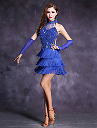 abordables -Danse latine Robes Femme Spectacle Polyester Fibre de Lait Franges 5 Pièces Sans manche Taille haute Robe Manche Short Tour de Cou