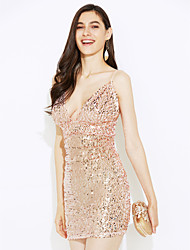 Women's Sequin Casual/Daily Club Sexy Simple Bodycon DressSolid Backless Sequins Strap Mini Sleeveless Gold Summer Mid Rise