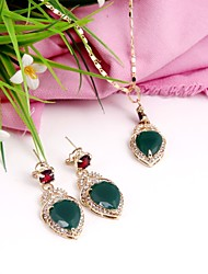 cheap -Women's Cubic Zirconia / Gold Plated Jewelry Set - Classic / Fashion Green Pendant Necklace / Necklace For Wedding / Gift / Daily