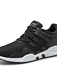 cheap -Men's Athletic Shoes Light Soles Knit Fall Winter Athletic Casual Outdoor Low Heel Black/White Black White Under 1in