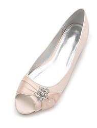cheap -Women's Shoes Satin Spring Summer Comfort Ballerina Wedding Shoes Peep Toe Rhinestone Satin Flower Sparkling Glitter Ribbon Tie For