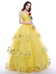 Princess Queen Cosplay Costume Party Costume Masquerade Movie Cosplay Yellow Top Skirt Petticoat Necklace Wig Christmas Halloween