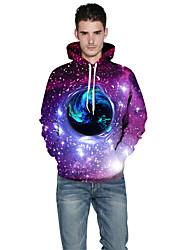 Men Realistic 3d Digital Universe Women Print Pullover Sports Outdoor Active Hoodie Hooded Baseball Uniform Jacket Inelastic Polyester Rainbow