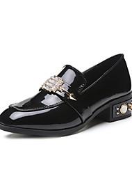 preiswerte -Damen High Heels Komfort Sommer Leder Kleid Strass Block Ferse Schwarz Grau Burgund 7,5 - 9,5 cm