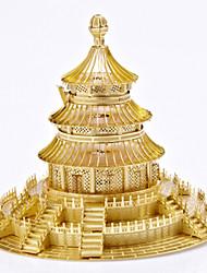 Kit Faça Você Mesmo Quebra-Cabeça Quebra-Cabeças de Metal Brinquedos Circular Moinho de Vento Arquitetura Chinesa 3D Faça Você Mesmo Não