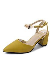 Damen Sandalen Komfort Pumps PU Frühling Sommer Kleid Party & Festivität Schnalle Blockabsatz Beige Gelb 5 - 7 cm