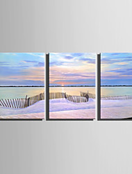 cheap -E-HOME Stretched Canvas Art  The Fence On The Beach Decoration Painting Set Of 3