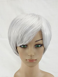 2 Tones Gray White Mixed  Woman Short Straight Natural Synthetic Hair Wig High Temperature Fiber