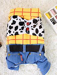 voordelige -Hond Jumpsuits Hondenkleding Jeans Denim Katoen Kostuum Voor huisdieren Heren Dames Casual / Dagelijks