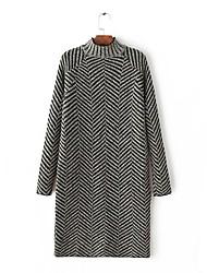 Longue Pullover Femme Sortie Décontracté / Quotidien simple,Couleur Pleine Col Roulé Manches Longues Laine Coton Printemps AutomneFin