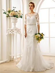 Linha A Ilusão Decote Cauda Corte Renda Tule Vestido de casamento com Miçangas Apliques Botões Caixilhos / Fitas de LAN TING BRIDE®