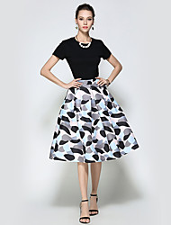 Women's Daily Going out Holiday Midi Skirts A Line Polyester Print Winter Fall