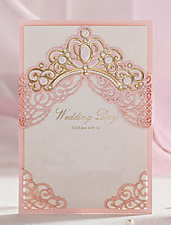 Wrap & Pocket Wedding Invitations 50-Invitation Cards Classic Style Embossed Paper