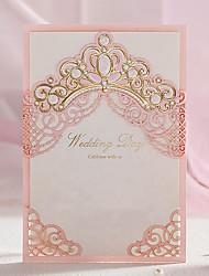 Недорогие -Открытка-карман Свадебные приглашения-Пригласительные билеты Классический Тиснённая бумага