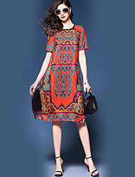 Women's Party Daily Holiday Going out Sheath Dress,Print Round Neck Midi Half Sleeves Silk Summer Fall High Rise Micro-elastic Thin