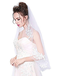 cheap -One-tier Cut Edge Wedding Veil Elbow Veils 53 Appliques Tulle