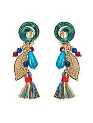 Lureme Bohemian Gold Spiral Shape Leaf with Turquoise Beads Rainbow Tassel Dangle Earrings