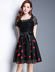 Women's Party Going out Sexy Cute Sheath Lace Dress,Embroidered U Neck Above Knee Short Sleeves Polyester Spandex Summer Fall High Rise