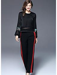 Dámské Jednoduchý Mikro elastické Široké nohavice Kalhoty Široké nohavice Mid Rise Barevné bloky