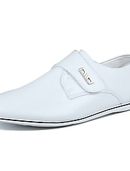 Men's Sneakers Comfort Spring Fall PU Casual Hook & Loop Flat Heel White Flat
