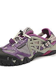 Unisex Athletic Shoes Light Soles Spring Summer Tulle Hiking Shoes Athletic Casual Outdoor Lace-up Gore Flat Heel Purple Light Blue