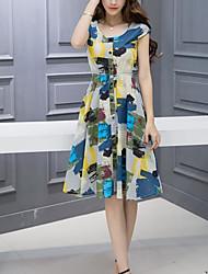 Trapèze Robe Femme Sortie Décontracté / Quotidien Fleur Col Arrondi Au dessus du genou Manches Courtes Coton Lin Eté Taille Normale