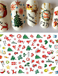 1pcs Christmas Nail Art 3D Sticker Decals Happy Xmas Santa Claus Cute Deer Christmas Tree Design F271