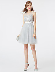 A-Line Jewel Neck Short / Mini Lace Tulle Cocktail Party Dress with Crystal Detailing Sash / Ribbon by TS Couture®