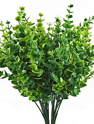 Artificial Shrubs 4pcs Faux Plastic Eucalyptus Leaves Bushes Fake Simulation Greenery Plants Indoor Outside Home Garden Office Verandah Wedding Decor