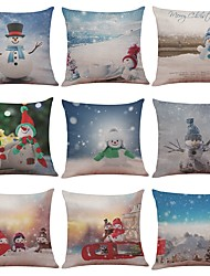 Set of 9 Merry Christmas Series Cushion Cover Santa Claus Christmas Tree Christmas Gifts And Snowman Printing Throw Pillow Pillowcase(18*18)