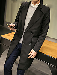 cheap -Men's Daily Going out Work Simple Casual Street chic Sophisticated Spring Fall Trench Coat,Solid Notch Lapel Long Sleeve Long Cotton