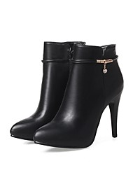 cheap -Women's Boots Fashion Boots Fall Winter Leatherette Dress Party & Evening Office & Career Rhinestone Stiletto Heel Black Gray Almond