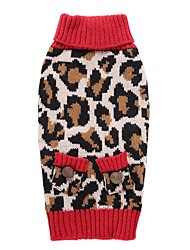 Cat Dog Coat Sweater Dog Clothes Party Casual/Daily Cosplay Keep Warm Wedding Christmas New Year's Leopard Leopard