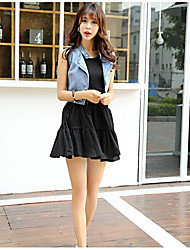 Women's Casual/Daily Simple Summer Tank Top Skirt Suits,Solid Crew Neck Sleeveless