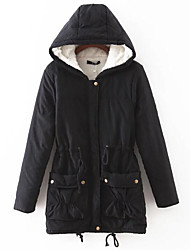 Women's Padded Coat,Simple Casual/Daily Solid-Cotton Polyester Cotton Long Sleeves