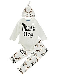 cheap -Baby Boys' Cotton Casual/Daily Print Clothing Set, Cotton Winter Spring/Fall Long Sleeves White