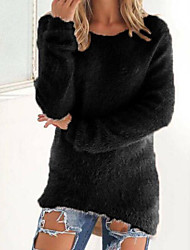 Women's Casual/Daily Regular Pullover,Solid Round Neck Long Sleeves Cashmere Fall Winter Medium Micro-elastic