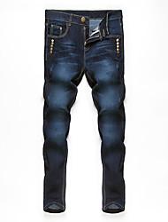 economico -Da uomo A vita medio-alta Casual Media elasticità Dritto Jeans Pantaloni,Tinta unita Cotone Primavera Estate