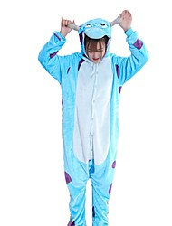 cheap -Kigurumi Pajamas Cartoon Blue Monster Onesie Pajamas Costume Flannel Fabric Blue Cosplay For Adults' Animal Sleepwear Cartoon Halloween