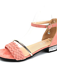 Dámské Sandály Pohodlné Léto PU Chůze Přezky Block Heel Černá Růžová Méně než 2.5 cm