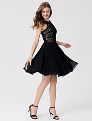 A-Line Princess Jewel Neck Knee Length Chiffon Lace Cocktail Party Dress with Crystal Detailing by TS Couture®
