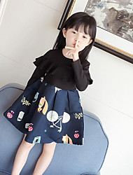 cheap -Girl's Print Dress,Cotton Polyester Spring Fall Long Sleeve Floral Blue