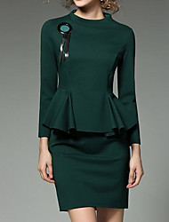 Women's Going out Casual/Daily Sexy Cute A Line Bodycon Dress,Solid Turtleneck Above Knee Long Sleeves Cotton Acrylic PolyesterSpring