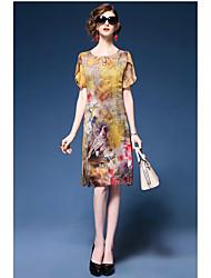 levne -Dámské Čínské vzory A Line Volné Pouzdro Šaty - Jednobarevné Květinový, Tisk High Rise