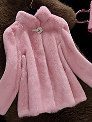 Women's Casual/Daily Simple Winter Fur Coat,Solid Stand Long Sleeve Regular Faux Fur Fur Trim