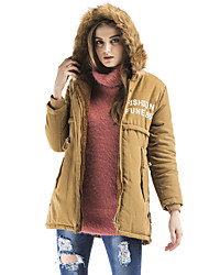 Maxlindy Women's Vintage Street chic Sophisticated Going out Casual/Daily Print Letter Regular Padded Coat